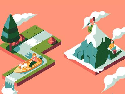 Digital Nomad muti publishing book cover isometric landscape work travel character folioart digital illustration