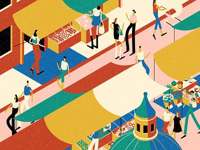 Palermo muti colourful summer italy travel market character editorial folioart digital illustration