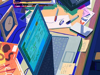 Family Offices rebecca mock painting office work desk editorial folioart digital illustration
