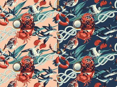 Under the Sea alexander wells nature bird fish crab pattern folioart digital illustration