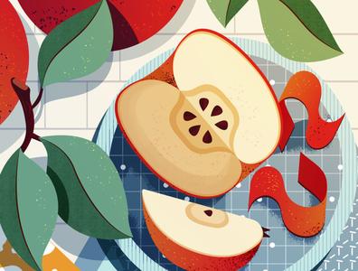 Apple maite franchi health apple snack food editorial folioart digital illustration
