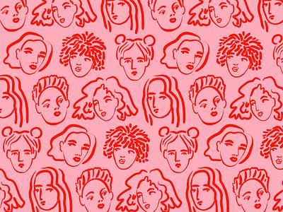 Faces bodil jane women pattern girls portrait drawing line character folioart digital illustration