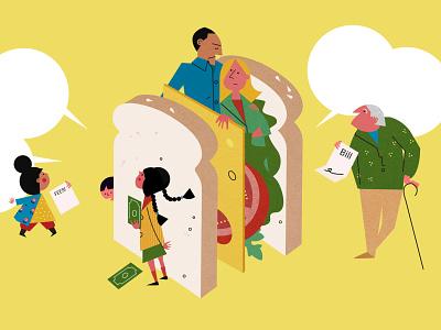 Sandwich Generation sally caulwell finance food family children vector character editorial folioart digital illustration