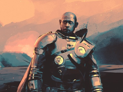 Saw Gerrera juan esteban rodriguez cinematic texture character star wars film folioart digital illustration
