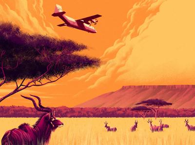 Waterberg Plateau plane africa muti nature travel landscape editorial folioart digital illustration
