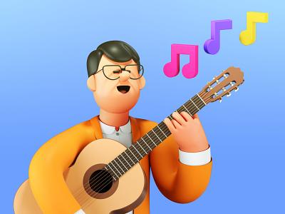 The Proposal arcade studio guitar music character folioart digital illustration