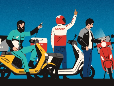 Three (Delivery) Kings michael parkin sky star moped humour character editorial folioart digital illustration
