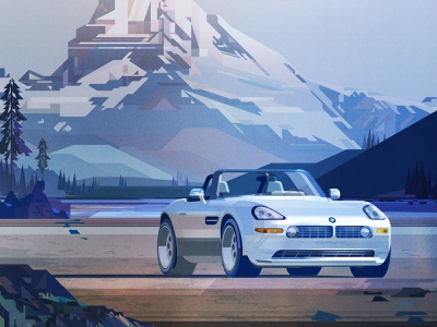 BMW james gilleard mountain luxury car landscape texture folioart digital illustration