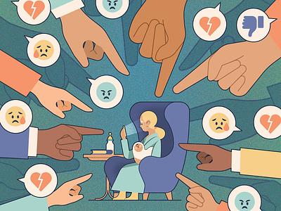 Parenting texture kiki ljung technology emoji social media character editorial folioart digital illustration