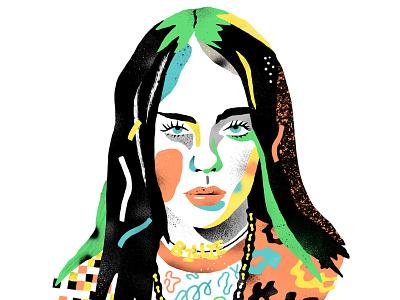 Billie Eilish character antoine corbineau pattern music texture portrait folioart digital illustration