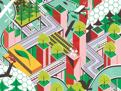 Future Cities michael driver isometric sustainable futuristic city editorial folioart digital illustration