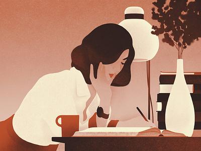 Woman karolis strautniekas desk negative space woman texture editorial folioart digital illustration