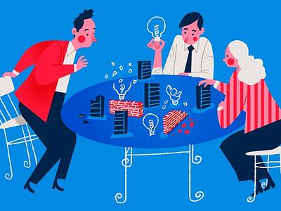Problem Solving emanuel wiemans conceptual teamwork character editorial folioart digital illustration