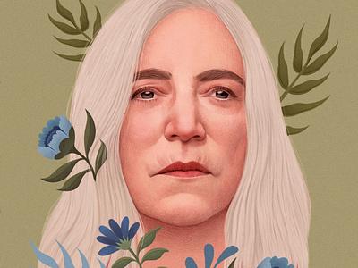 Patti Smith drawing realist music floral pattern portrait folioart digital illustration