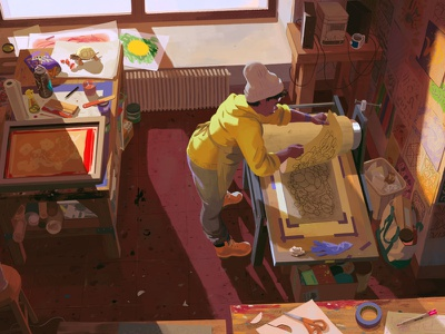 Printmaker rebecca mock interior studio printmaking turtle character editorial folioart digital illustration