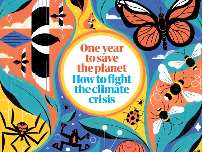 Save the Planet colourful animals michael driver climate change wildlife nature editorial folioart digital illustration