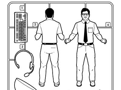 Airfix man son of alan business humour line character folioart digital illustration