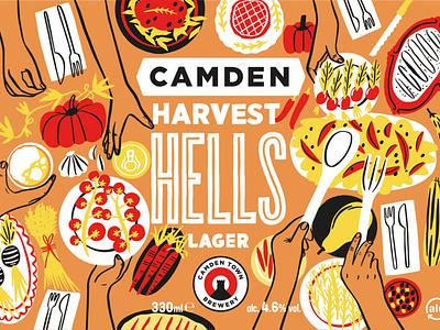 Harvest Hells drawing line bodil jane seasonal food packaging folioart digital illustration