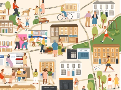 South East London amelia flower people city london map character folioart digital illustration