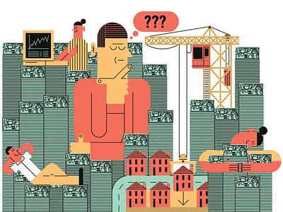 Get Rich Quick john devolle humour finance line vector character editorial folioart digital illustration