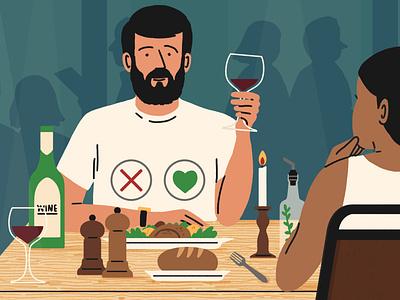 Date Night michael parkin food humour character editorial folioart digital illustration