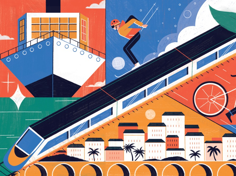 Sustainable Travel michael driver landscape ski train sustainable travel character editorial folioart digital illustration