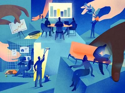 Scaling Office Culture interior conceptual business office eleni debo texture editorial folioart digital illustration
