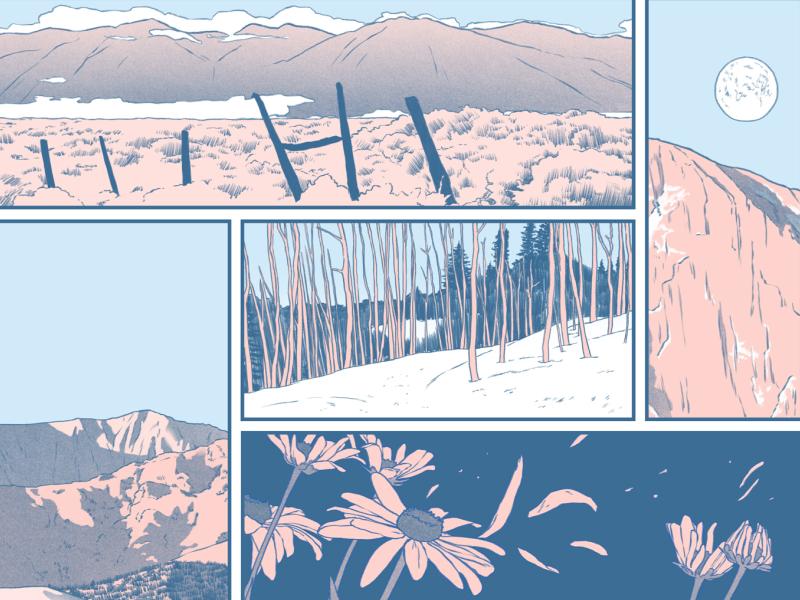 Sounds of Silence nature landscape narrative panels editorial folioart digital illustration
