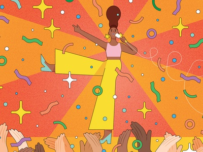 Public Speaking kiki ljung colourful dance texture vector character editorial folioart digital illustration