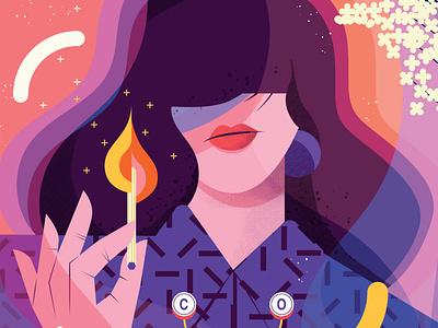 Carbon Monoxide health maite franchi pattern woman texture character editorial folioart digital illustration
