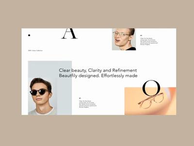 AO. Specticles landingpage navigation serif ui uxui typography gallery website type scroll menu eccomerce animation ux design