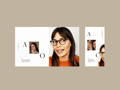 AO Spectacles Flow serif gallery layout type journey landing page menu website ui animation ux design typography