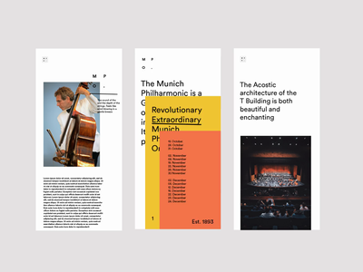 Orchestra Responsive WIP. video animation layers music menu ux ui uxui colour responsive mobile typography website typography type