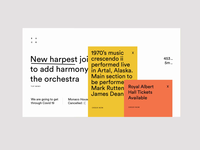 Orchestra WIP News hierarchy views layers ux ui landing page type website typography type line menu pop ups news