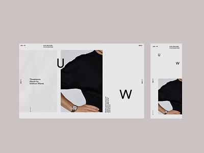 Uniform Wares. Watch website WIP design type website mobile responsive menu landing page photography ui ux design video animation minimal typography