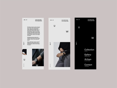 Uniform Wares. Watch Mobile WIP design dropdown sans serif minimal photography website type landing page responsive menu design video animation ux typography