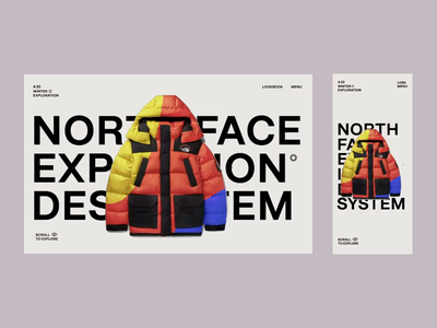 North Face Responsive parallax scroll video animation mobile destop menu ui ux typography responsive website minimal type