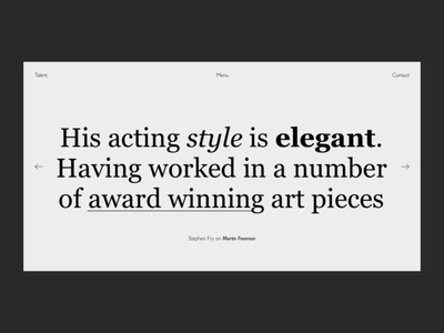 Talent Singe Digital Experience black and white menu gallery ux ui design transition black panther mp4 animation video talent typography