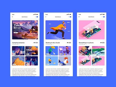 Profiles book ui sketchbook animation app mobile illustraion 3dillustration illustration uxui ux gallery profle