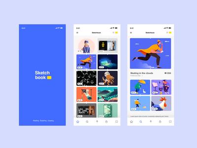 Sketchbook Bookmark sketchbook mobile navigation blue menu bar gallery website logo ux ui illustration typography app mobile design