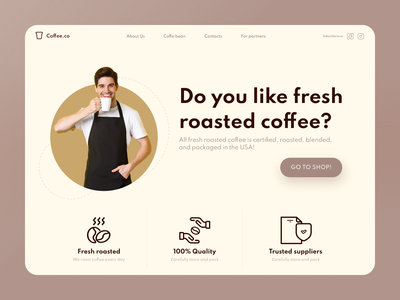 Coffee company shop ui web design