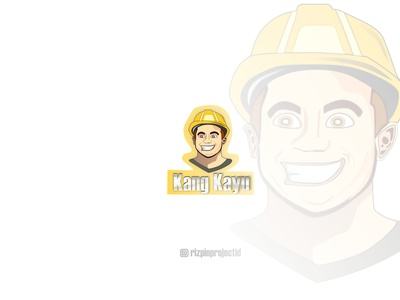 Carpenter ,White Kang Kayu ( Icon ) ui vector illustration animation promotion banner graphic design design branding logo