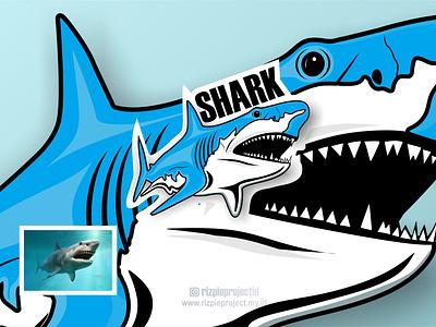 Shark icon blue 3d ui vector illustration animation promotion banner graphic design design branding logo