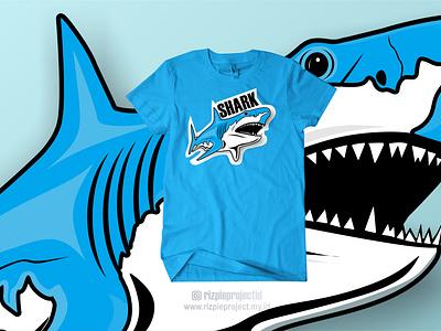 Tshirt Shark Blue illustration vector motion graphics 3d animation ui promotion banner graphic design design branding logo