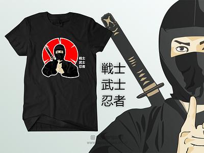 Tshirt Ninja Black ui vector illustration animation promotion banner graphic design design branding logo