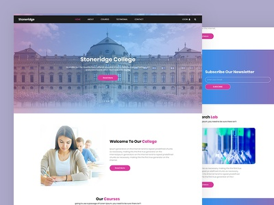 Stoneridge study online education e-learning school design university college psd template