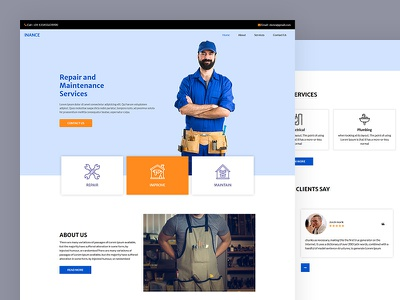 Inance construction carpenter electrician plumber maintenance repair css template bootstrap html5 responsive