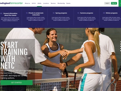 Tennis Club new website design menu website web ui design ux design webdesign
