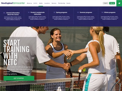 Tennis Club new website design menu website web ui design ux design webdesign