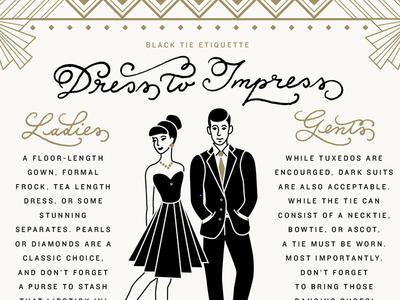 Dress to Impress illustration wedding stationery black tie man woman etiquette